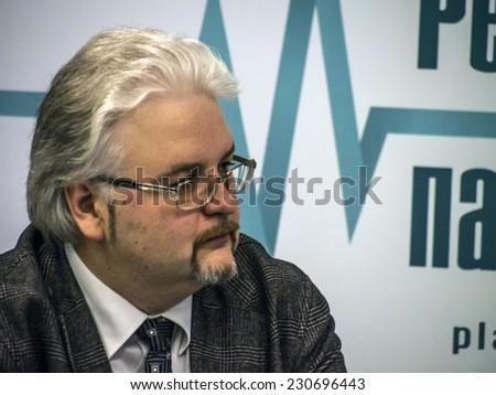 KIEV, UKRAINE - November 14, 2014:Associate Professor, Institute of International Relations of Kyiv National Taras Shevchenko University Mikola Gnatovsky