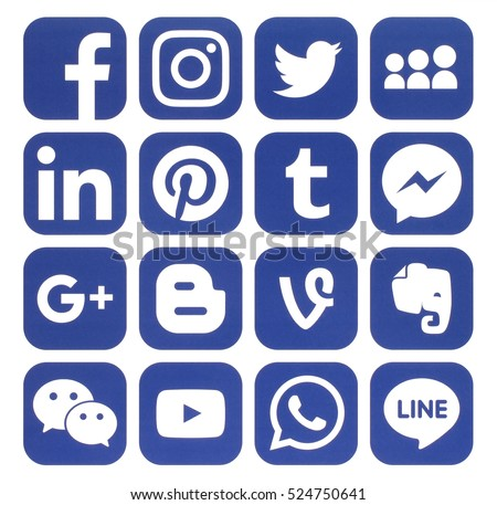Kiev, Ukraine - November 24, 2016: Collection of popular blue social media icons printed on paper:Facebook, Twitter, Google Plus, Instagram, Pinterest, LinkedIn, Blogger, Tumblr and others