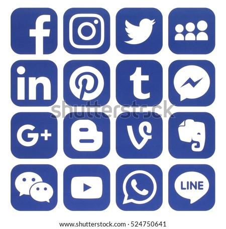 Kiev, Ukraine - November 24, 2016: Collection of popular blue social media icons printed on paper:Facebook, Twitter, Google Plus, Instagram, Pinterest, LinkedIn, Blogger, Tumblr and others