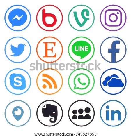 KIEV, UKRAINE - November 06, 2017: Collection of popular social media logos printed on paper: Facebook, Twitter, LinkedIn, Instagram, Skype, WhatsApp, Line and other