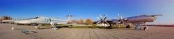 Kiev, Ukraine - November 27, 2017: Kiev National Aviation Museum: Tu-95, Tu-22. Soviet military aircrafts.