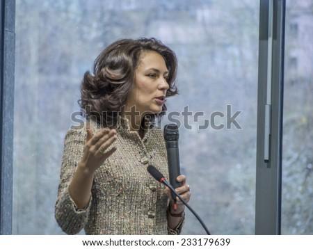 KIEV, UKRAINE - November 14, 2014: Natalia Agafonova, Verkhovna Rada deputy of the party BLOW