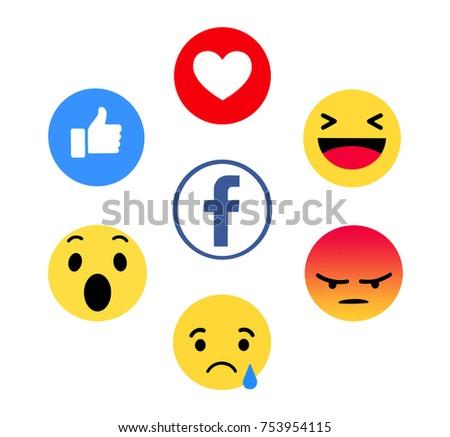 Kiev, Ukraine - November 9, 2017: New Facebook like button 6 Empathetic Emoji. Printed on paper. Facebook is an online social networking service.   - Shutterstock ID 753954115