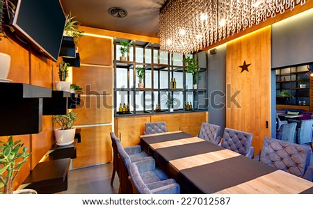 KIEV, UKRAINE - OCTOBER 20: Grandee bar and restaurant in Kiev, Ukraine, October 20, 2014. The main bar serves breakfast, lunch and dinner. Also serves refreshing drinks and coffe.