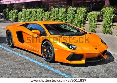Kiev, Ukraine; October 17, 2016;  Lamborghini Aventador on the streets. Editorial photo.