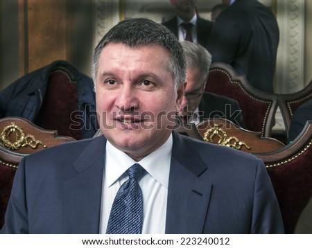 KIEV , UKRAINE - October 13, 2014: Minister of Internal Affairs of Ukraine Arsen Avakov.