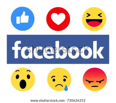 Kiev, Ukraine - October 5, 2017: New Facebook like button 6 Empathetic Emoji. Printed on paper. Facebook is an online social networking service.