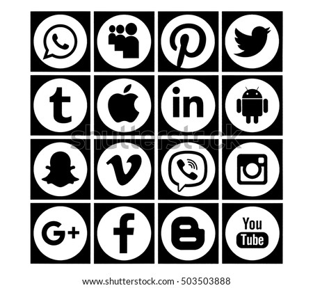 Kiev, Ukraine - October 24, 2016: Set of most popular black  social media icons: Twitter, Pinterest, Instagram, Facebook, Blogger, WhatsApp,Viber, Tumblr, Google Plus and others printed on paper.