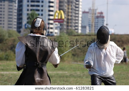 KIEV, UKRAINE - SEPT 19: Participants Festivale of medieval costume wear historical costume Sep 19, 2010 in Kiev, Ukraine