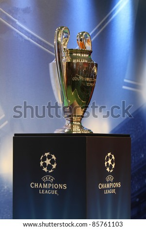 KIEV,UKRAINE SEPTEMBER-30:UEFA Champions League Trophy Tour 2011 in Kiev, Ukraine September 30,2011.The UEFA Cup - trophy awarded annually by UEFA to the football club that wins the UEFA Europa League