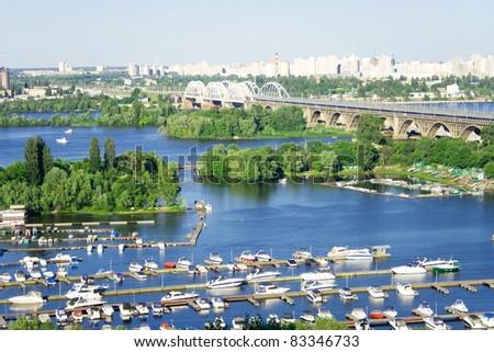 Kiev. Ukraine. Small docks of wide river Dnieper