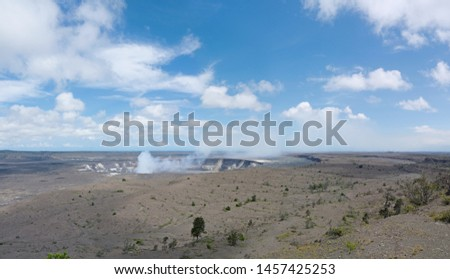 Kilauea Hawaiian volcano Halema'uma'u Crater Panoramic view with rising smoke and steam Foto stock ©