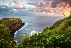 Kilauea Lighthouse and Wildlife Refuge, Kauai, Hawaii, at sunrise