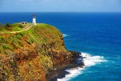 Kilauea lighthouse bay on a sunny day in Kauai, Hawaii