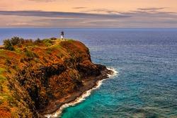 Kilauea lighthouse on a sunny day in Kauai, Hawaii Islands.