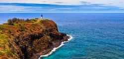 Kilauea lighthouse panorama on a sunny day in Kauai, Hawaii Islands.