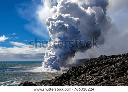 Kilauea Volcano 61G lava flow Ocean Entry on Big Island of Hawaii