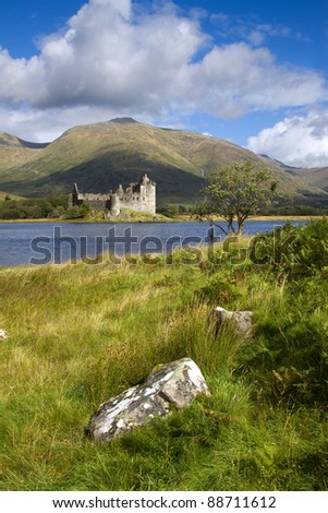 Kilchurn Castle on the shores of Loch Awe in Argyll and Bute in Scotland. This majestic ruin was built in the mid-fifteenth century by the Clan Campbell. - stock photo
