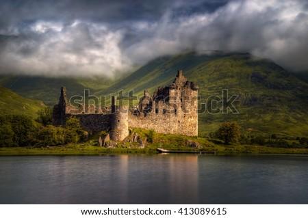 Kilchurn Castle reflections in morning light,, Highlands, Scotland