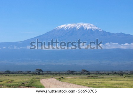 Kilimanjaro on a clear sunny day - stock photo