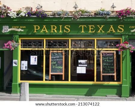 KILKENNY, IRELAND - AUGUST 8, 2012 : A green restaurant Paris Texas on August 8, 2012 in Kilkenny, Ireland.