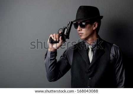 Killer Man With Gun Killer And Mafia Man Hold Gun