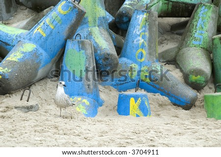killing paradise. urban scene. beach graffiti - stock photo