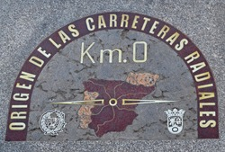 Kilometre Zero in Madrid Spain - The marker in the pavement showing the geographical center of Spain