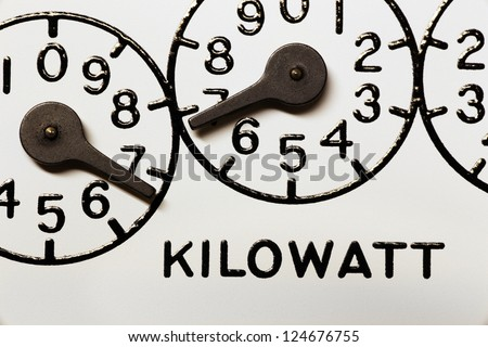 Kilowatt hour electric meter register dials and pointers