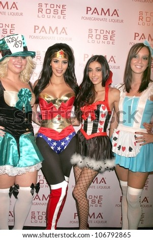 Kim Kardashian and friends  at PAMA's Halloween Masquerade, Stone Rose, Los Angeles, CA. 10-30-08