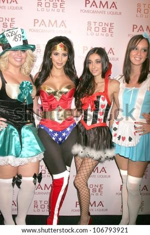 Kim Kardashian and friends  at PAMA's Halloween Masquerade, Stone Rose, Los Angeles, CA. 10-30-08
