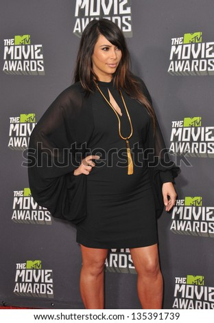 Kim Kardashian at the 2013 MTV Movie Awards at Sony Studios, Culver City. April 14, 2013  Los Angeles, CA Picture: Paul Smith