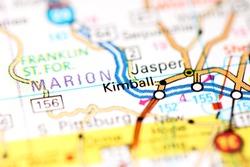 Kimball. Tennessee. USA on a map