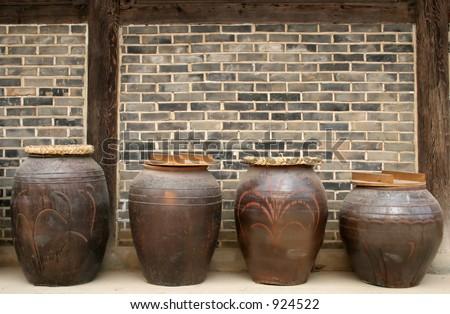 Kimchi (Korean pickled cabbage) pots at Suwon Folk Village, South Korea