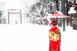 kimono girl in snow, Hokkaido, Japan.