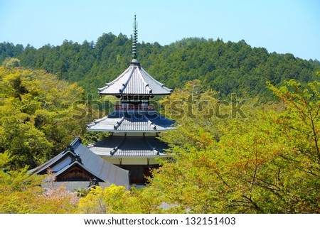 Kimpusen-ji buddhist temple in Yoshino, Japan. UNESCO World Heritage Site in Kii peninsula.