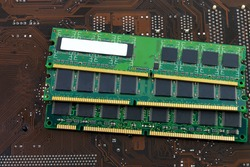 Kind of random access memory(RAM) on motherboard background.