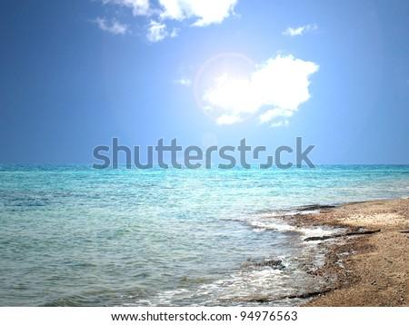 Kind on a sea from coast
