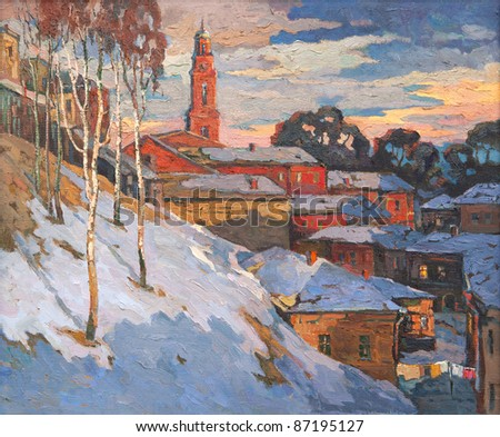 Kind on a winter city, oil on a canvas