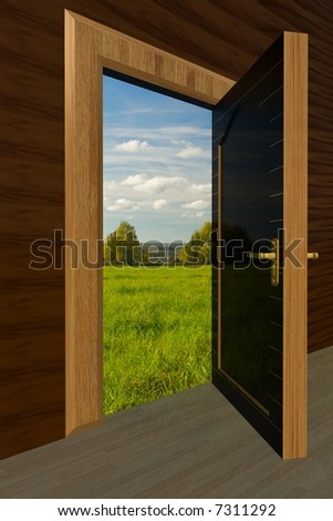 Kind on the nature through the open door #7311292