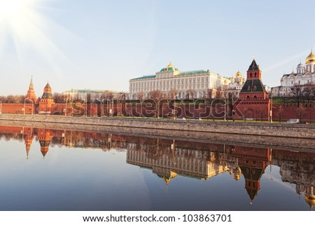 Kind to the Moscow Kremlin, Grand Kremlin Palace, Cathedrals and quay Moskva River