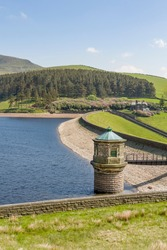 Kinder Reservoir, a water storage reservoir for drinking water in Peak District, Derbyshire, UK. The reservoir uses an earth dam construction