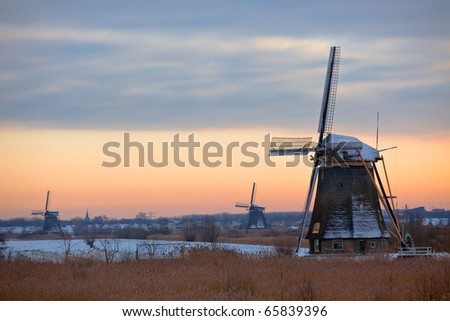 Kinderdijk landscape with Windmills in Winter. Horizontal shot