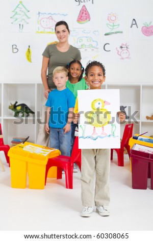 kindergarten boy in classroom
