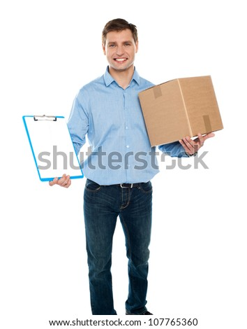 Kindly accept the delivery. Courier services. Man holding clipboard and carton