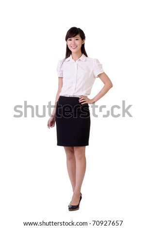 Kindly business woman of Asian, full length portrait isolated over white.