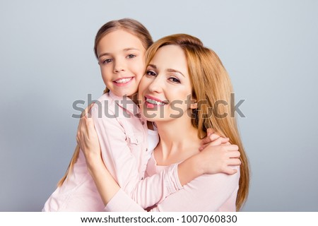 Kindness help growing-up baby offspring age development person warmth mama mommy concept. Close up portrait of cheerful excited glad beautiful mom and cute sweet lovely kid isolated on gray background #1007060830