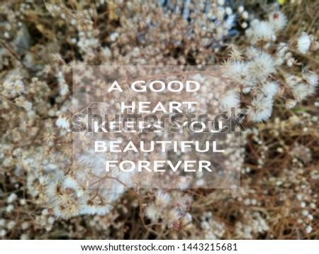 Kindness Inspirational motivational quote- A good heart keeps you beautiful forever. With blurry image of an abstract nature background of dried brown and white wild grass flowers pattern.
