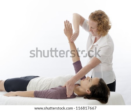 Kinesiologist or physiotherapist treating Pectoralis major