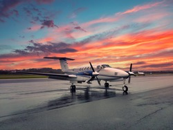 King Air 200 Airport Sunset